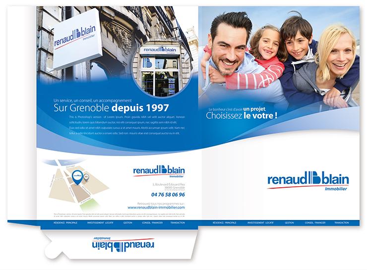 Pochette à rabat de l'agence Renaud Blain immobilier à Grenoble