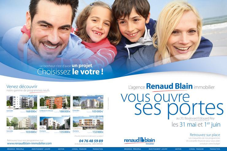 Double page Logic Immo, pour les portes ouvertes de Juin 2014 de l'agence Renaud Blain immobilier à Grenoble - 38