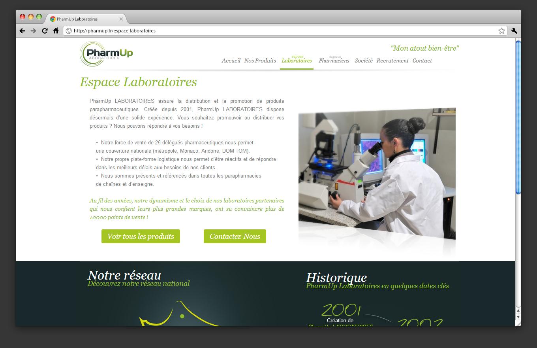 Page laboratoires site vitrine PharmUp