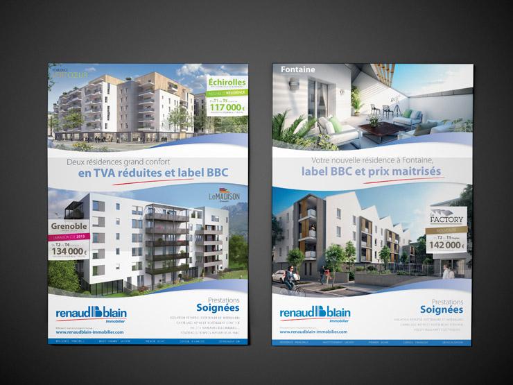 Double page logic immo mai 2013 pour la mise en avant de programme de Renaud Blain immobilier