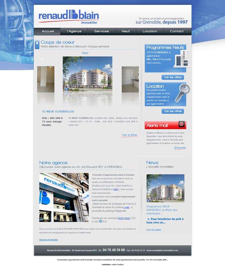 Page d'accueil du site renaudblain-immobilier.com